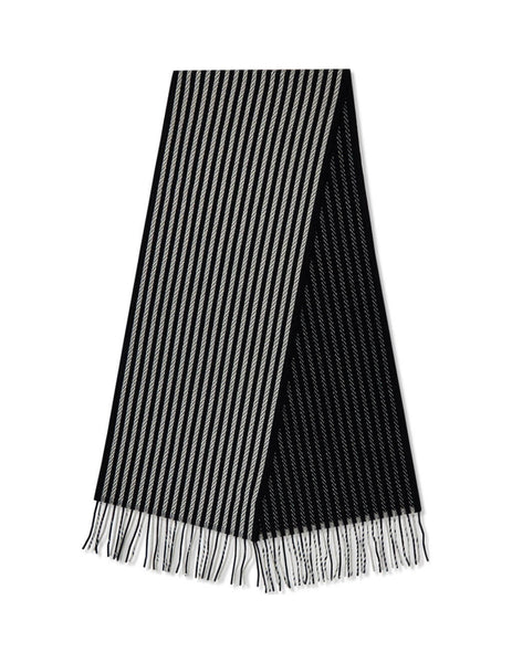 Men's Saint Laurent Rope Striped Cashmere Scarf in Black/Ivory. 6292164Y2111078