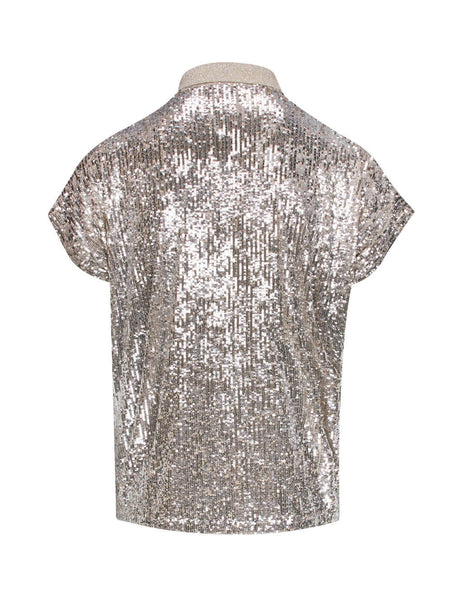 Saint Laurent Men's Giulio Fashion Champagne Sequined Boxy Polo Shirt 601538YBOK21901