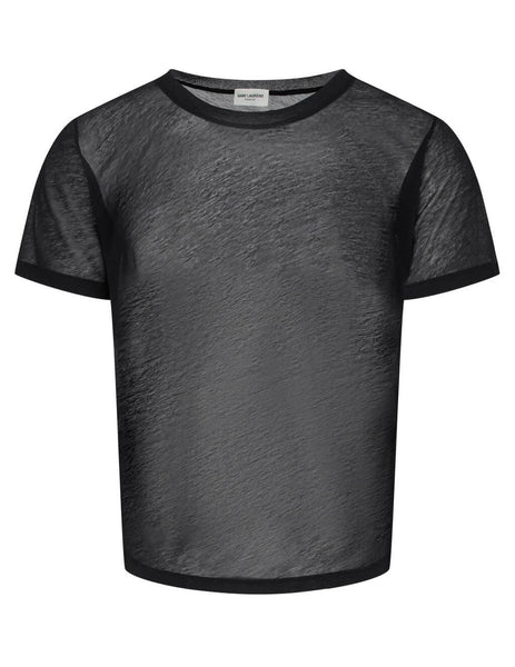Men's Black Saint Laurent Sheer U Neck T-Shirt 601527YBNR21000