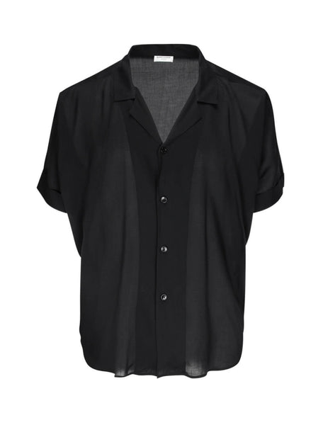 Saint Laurent Men's Black Sheer Shirt 596009Y532U1000