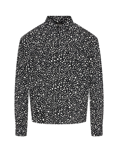 Men's Black Saint Laurent Speckled Leopard Shirt 520149Y1A781095