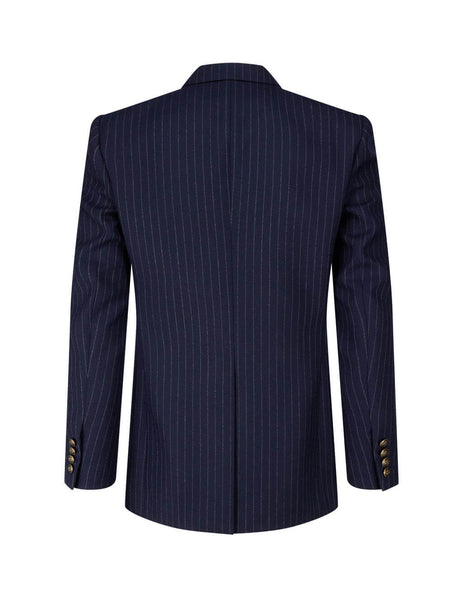 Men's Saint Laurent Striped Double Breasted Jacket in Navy Blue. 635549Y127W4260