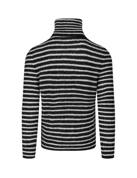 Saint Laurent Men's Black Striped Roll Neck Jumper 633156YARX21095