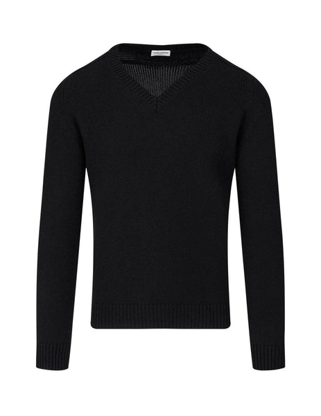 Men's Saint Laurent V-Neck Jumper in Black. 631856YALJ21000