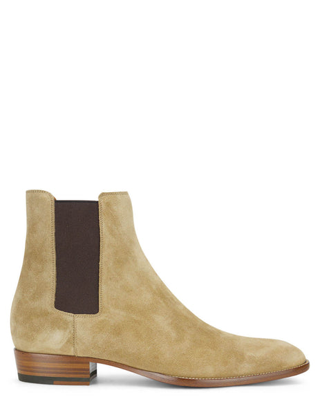 Men's Saint Laurent Suede Wyatt 30 Chelsea Boots in Tobacco Brown - 443208BT3009870