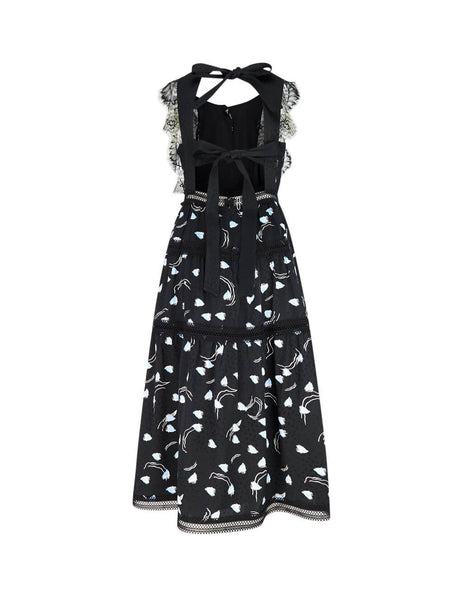 Women's Black self-portrait Abstract Sleeveless Midi Dress SS20-020A