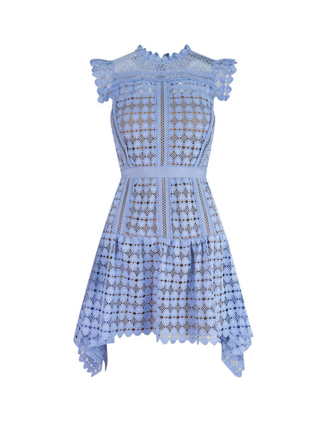 Women's Light Blue self-portrait Heart Lace Mini Dress SS20-139