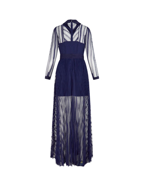 Women's Navy self-portrait Lace Maxy Dress SS20-015