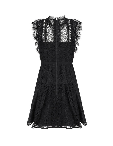 Women's Black self-portrait Lace Panel Mini Dress SS20-003