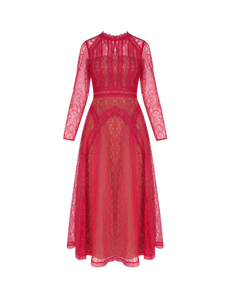 Women's Hot Pink self-portrait Lace Panel Midi Dress SS20-087