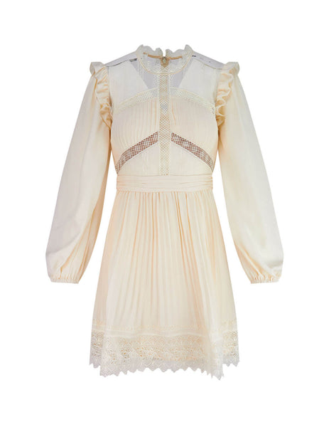 Women's Cream self-portrait Lace Trim Mini Dress SS20-012