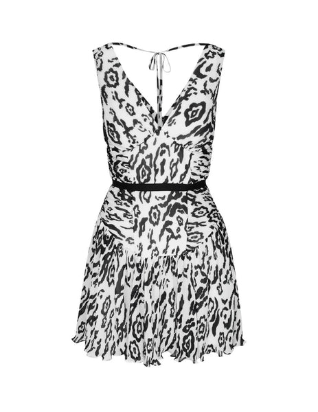 self-portrait Women's Giulio Fashion Ivory/Black Leopard Plisse Mini Dress RS20-038