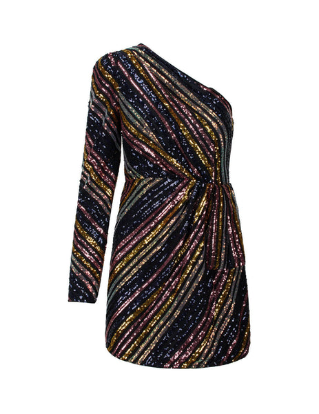 self-portrait Women's Giulio Fashion Black Stripe Asymmetric Dress RS20-061S