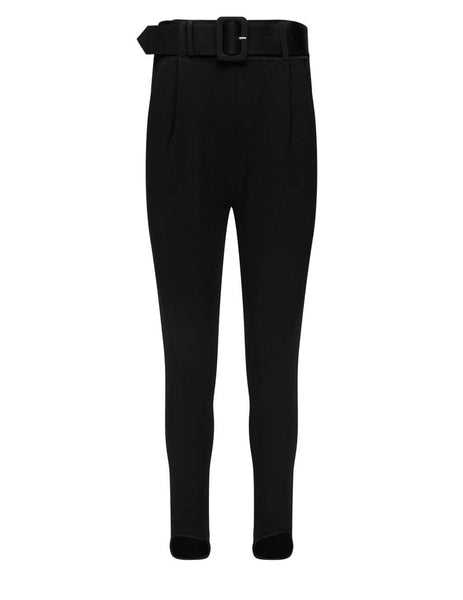 Women's self-portrait 28 Inch Knitted Stirrup Joggers in Black - RS21-063