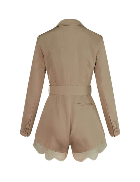 self-portrait Women's Giulio Fashion Taupe Belted Playsuit SS20-143