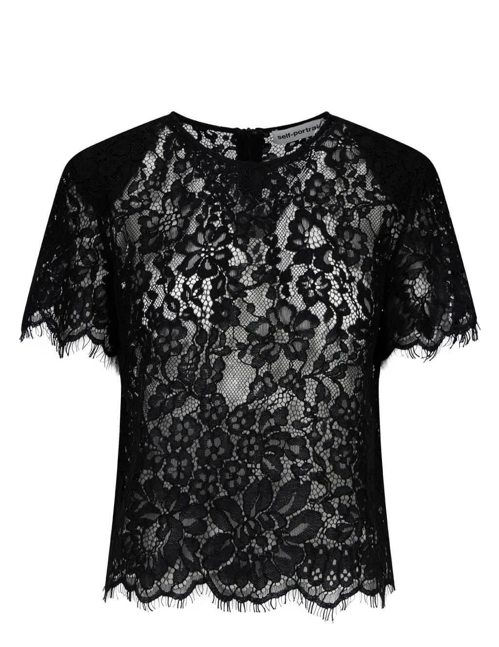 Women's self-portrait Cord Lace Sleeved Top in Black - RS21-068T