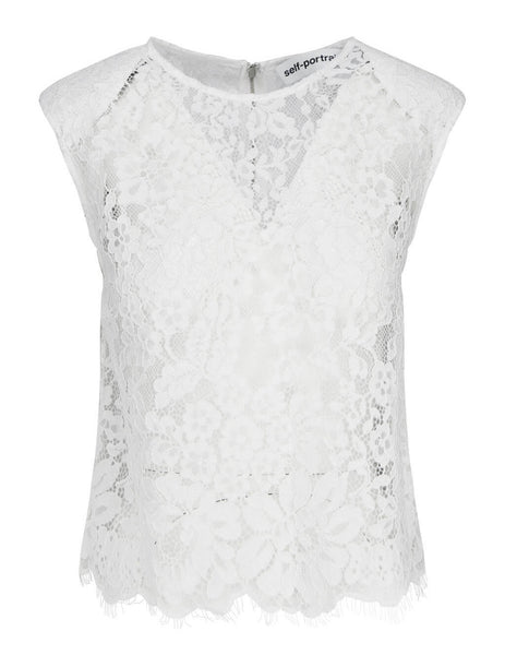 Women's self-portrait Cord Lace Sleeveless Top in Ivory - RS21-068L