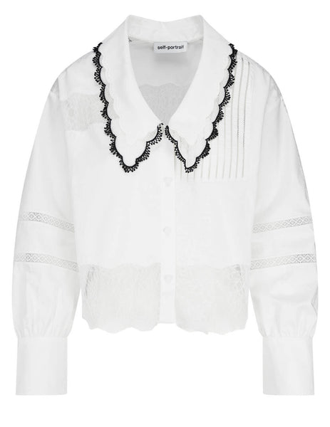 Women's self-portrait Cotton Trimmed Shirt in White- RS21-064