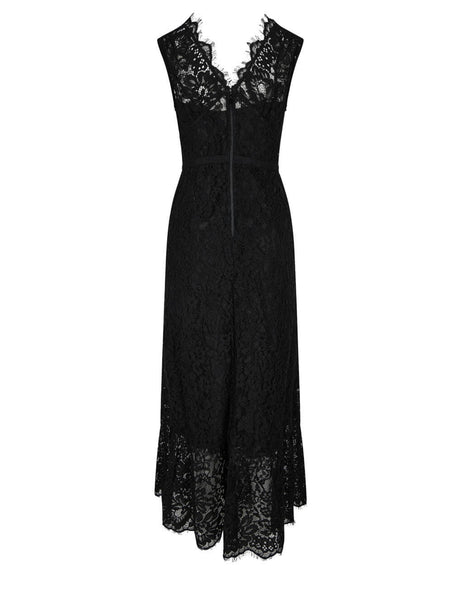 Women's self-portrait Diamante Buttoned Sleeveless Midi Dress in Black - RS21-035S