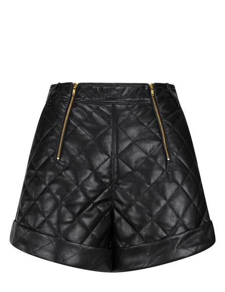 Women's self-portrait Faux Leather Quilted Shorts in Black - RS21-121