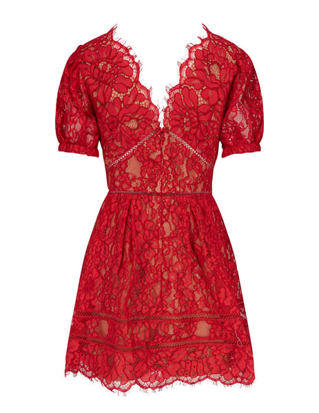 Women's self-portrait Fine Cord Lace Mini Dress in Red - RS21-035
