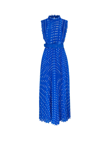self-portrait Women's Giulio Fashion Blue Polka Dot Chiffon Maxi Dress PF20-132