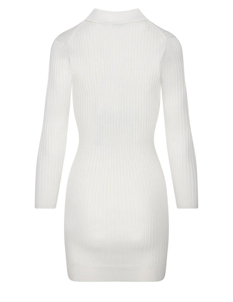 Women's self-portrait Ribbed Knit Shirt Dress in Cream - SS21-084