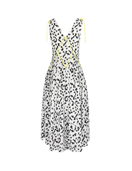 self-portrait Women's Giulio Fashion Cream Sleeveless Leopard Printed Dress SP22082