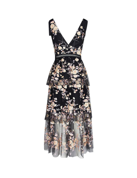 self-portrait Women's Giulio Fashion Black Midnight Floral Mesh Dress SP22127
