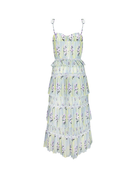 self-portrait Women's Giulio Fashion Mint Green Tiered Printed Chiffon Dress SP22029X