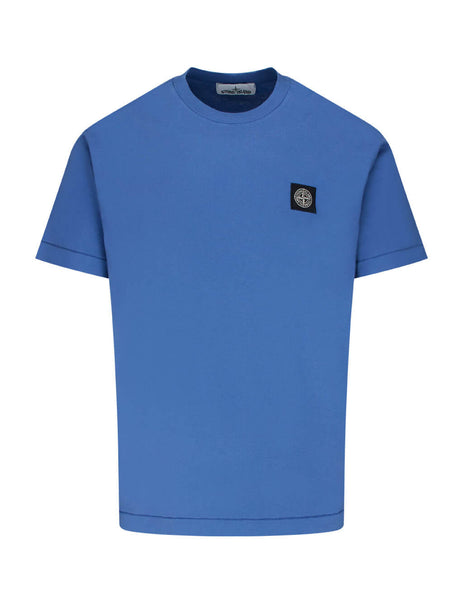 Stone Island Men's Giulio Fashion Periwinkle Blue 24113 Cotton Jersey Tee 731524113 V0043