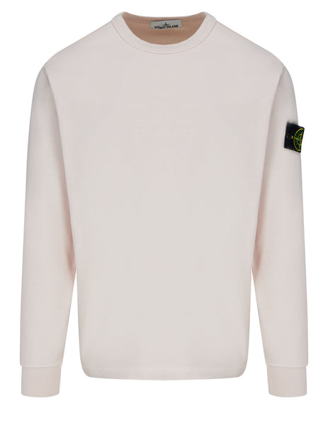 Men's Stone Island 64450 Crewneck Fleece Sweatshirt in Antique Rose - 741564450 V0082
