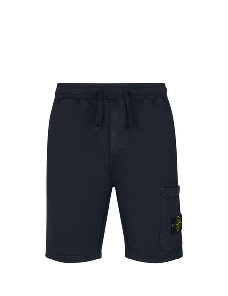 Stone Island Men's Navy Blue 64651 Cotton Fleece Shorts 721564651 V0020