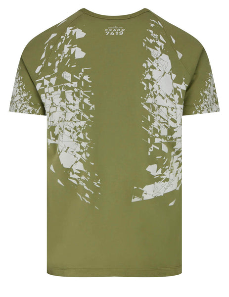 Men's Stone Island Shadow Project 20610 Printed SS Catch Pocket T-Shirt in Olive Green - 741920610 V0058
