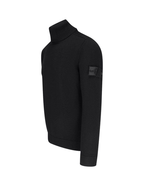 mens stone island shadow project 510a5 ribbed turtleneck knit in black 7319510A5-V0029