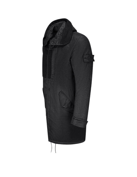 mens stone island shadow project 704b3 fishtail parka in black 7319704B3-V0029