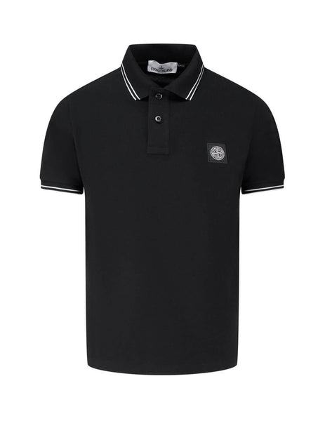 Men's Stone Island 22S18 Polo Shirt in Black. 731563020 V0068
