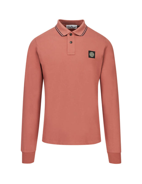 Stone Island Men's Giulio Fashion Rust 2SS18 Long Sleeve Polo Shirt 71152SS18V1013