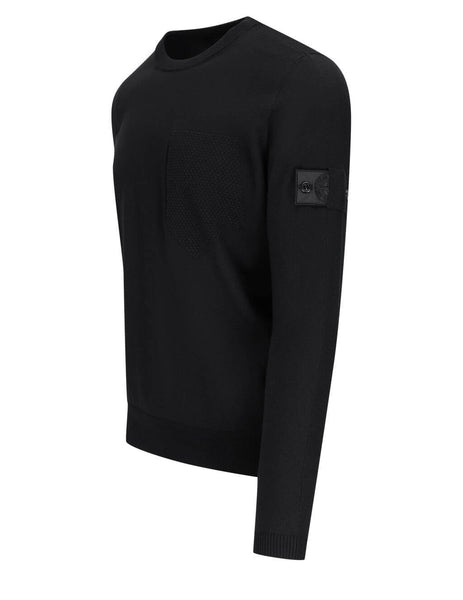 Men's Stone Island Shadow Project 506A4 Catch Pocket Crewneck Jumper in Black - 7419506A4 V0029