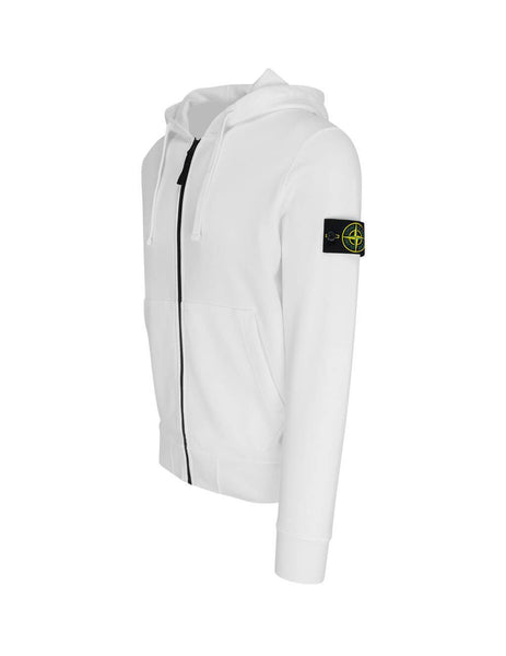 Men's White Stone Island 64251 Zip Hooded Sweatshirt 721564251V0001