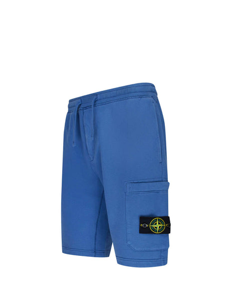 Men's Avio Blue Stone Island 64620 Fleece Shorts 731564620 V0043