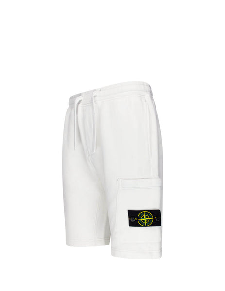 Men's Stone Island 64620 Fleece Shorts in White. 731564620 V0001