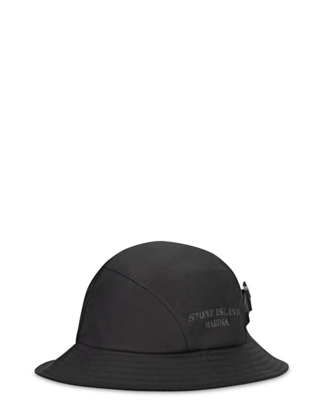 Men's Stone Island Marina 999X6 Cotton Nylon 3L Bucket Hat in Black - 7415999X6 V0029