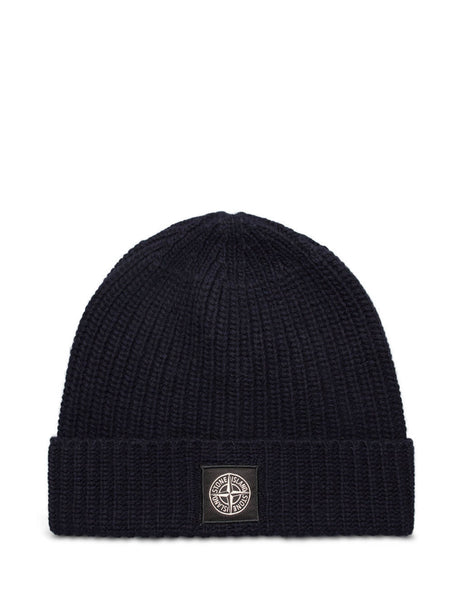 Stone Island Men's Giulio Fashion Navy Blue N10B5 Rib Knit Hat 7315N10B5 V0020