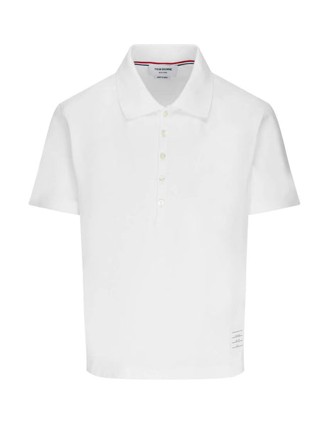 Thom Browne Men's Giulio Fashion White Relaxed Fit S/S Polo Shirt MJP052A00042100