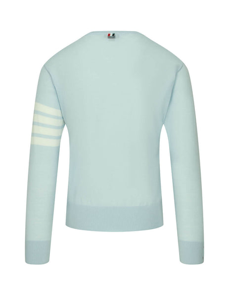 Thom Browne Men's Giulio Fashion Light Blue 4 Bar Pullover MKA002A00014450