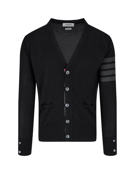 mens thom browne 4 bar v neck cardigan in black MKC002A00014001