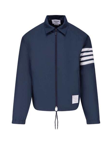 Men's Navy Thom Browne Flyweight Tech Windbreaker MJT226A06230415