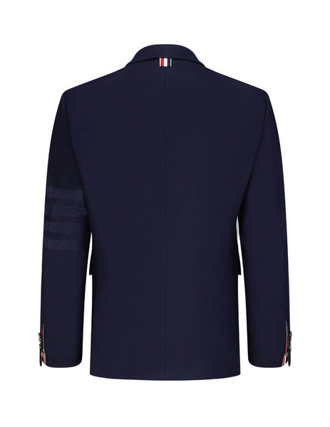 Men's Thom Browne 4 Bar Engineered Blazer in Navy. MJC001A06393415