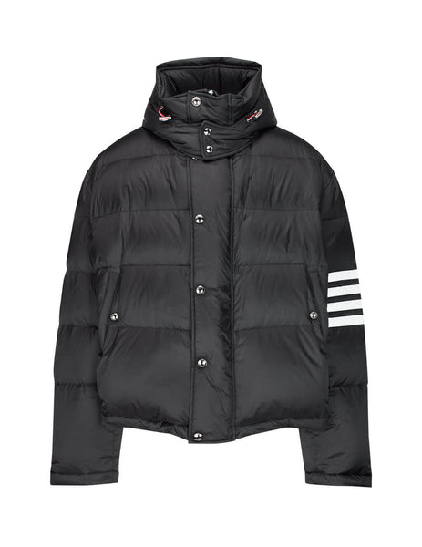 Thom Browne Men's Giulio Fashion Black 4-Bar Matte Nylon Bomber MJD064X05411001